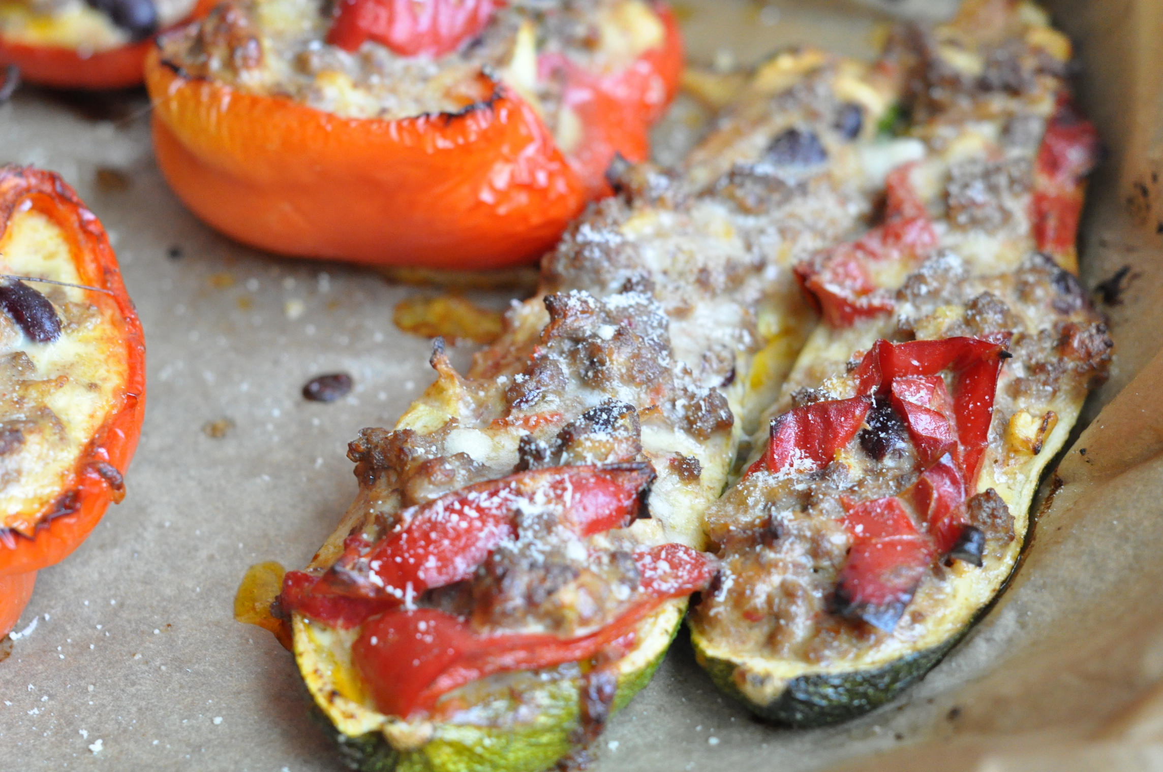 Stuffed peppers and zucchinis