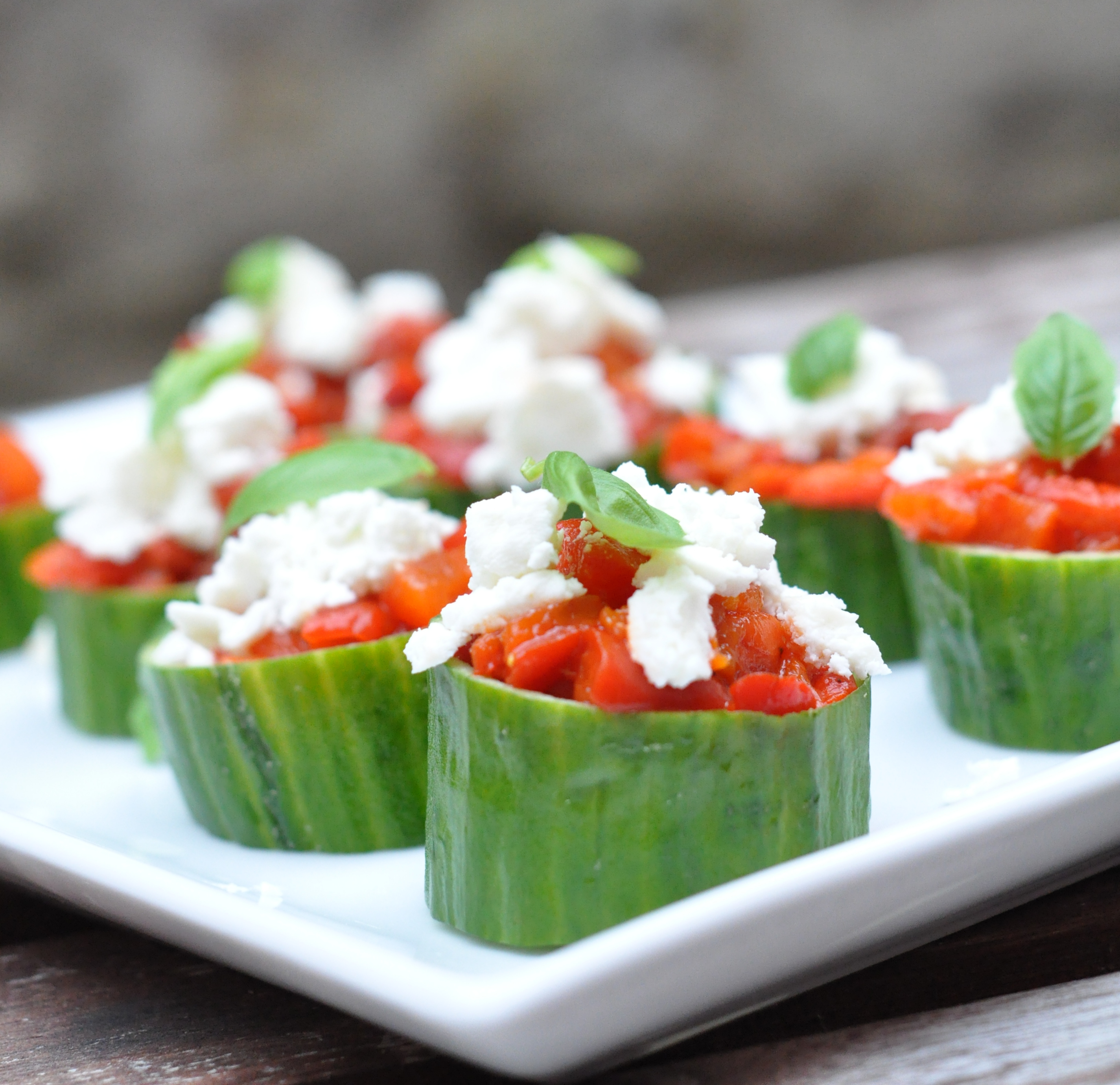 Roasted pepper tartar in a cucumber bowl