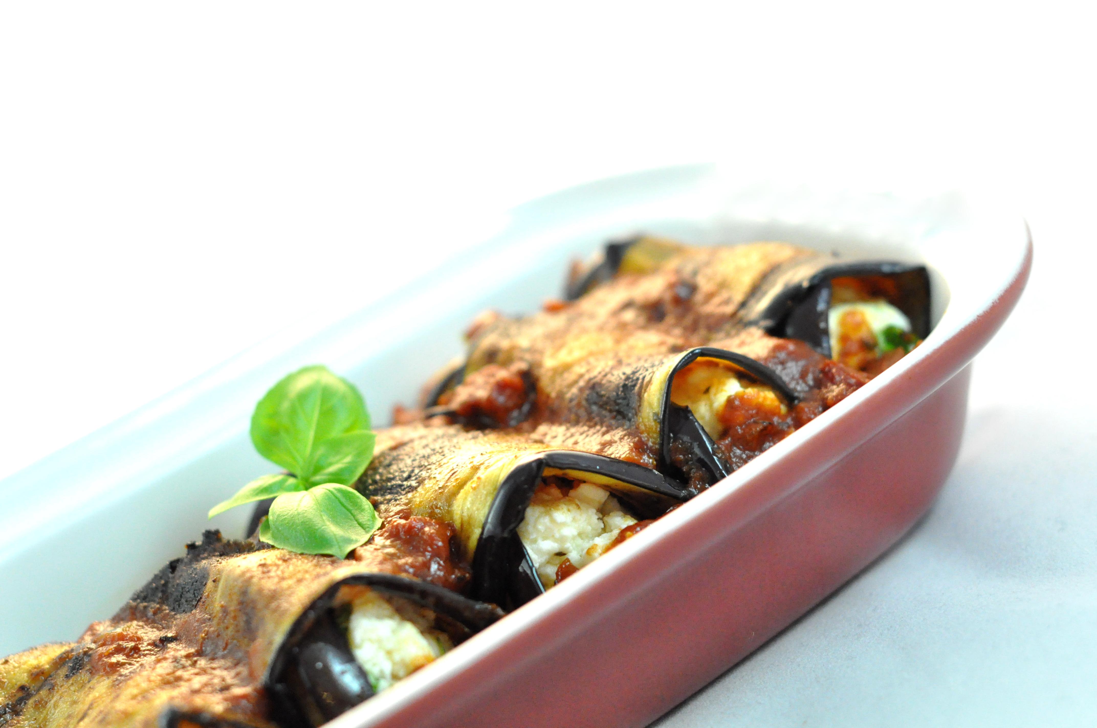 Aubergine involtini with tomato chorizo sauce