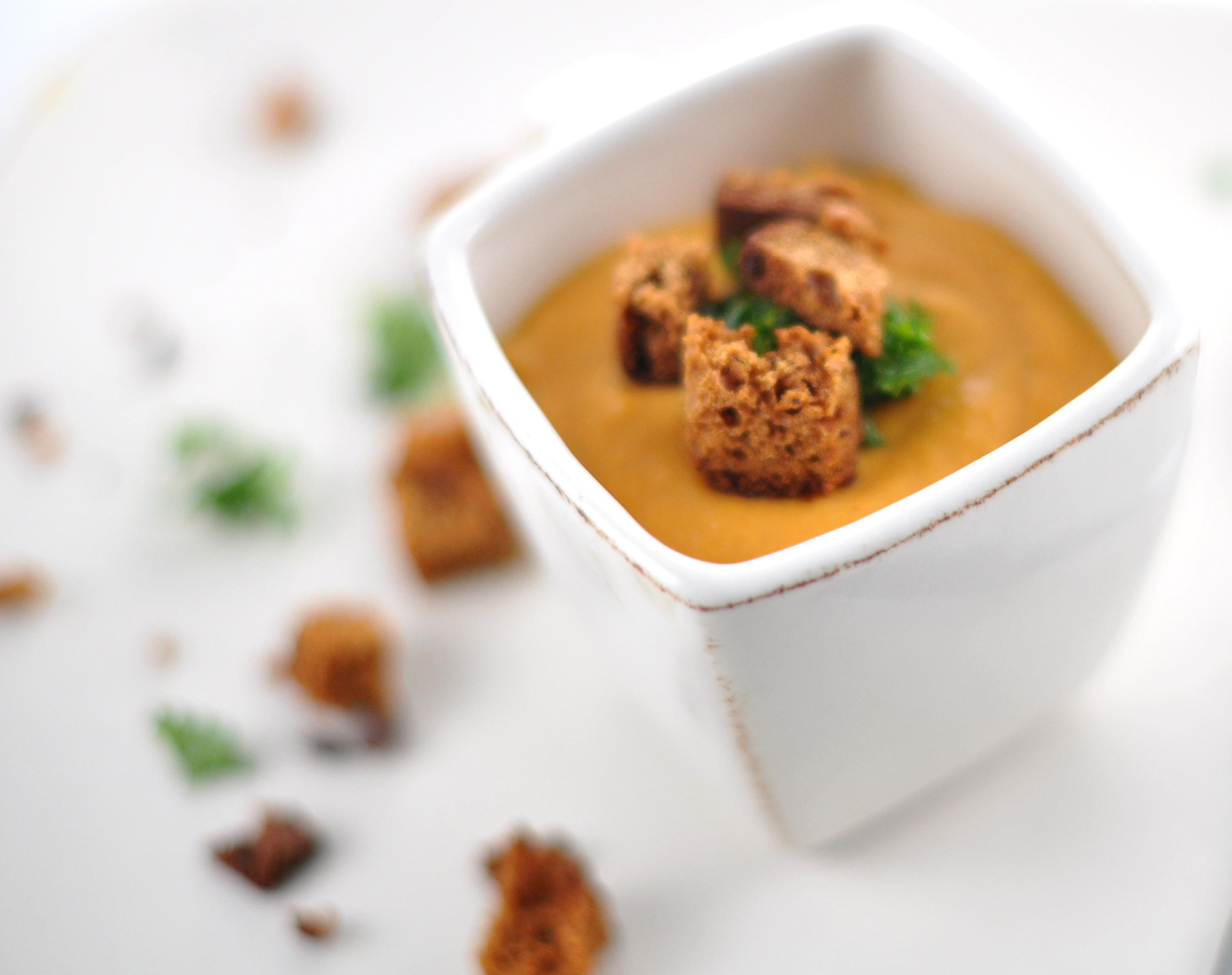 Carrot soup with coconut milk and gingerbread croutons